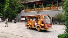 People visit Huaqing hot springs in Xian, China. Stock Footage