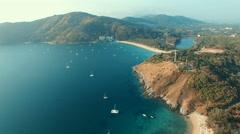 aerial view of laem phomthep traveling destination phuket thailand - stock footage