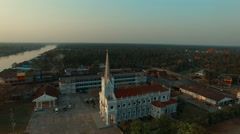 Aerial view of bang nok khawk church in samuthsongkram in thailand Stock Footage