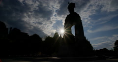 The National War Memorial In Back Light with Sun Glaring Behind - stock footage