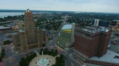 Sunrise Aerial Flying Over Down Town Buffalo New York Stock Footage