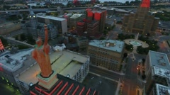 Aerial of Statue of Liberty On Top of Liberty Building In Buffalo New York Stock Footage