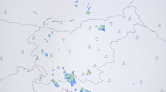 Radar map storms formation in Slovenia 4K - stock footage