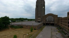 Aerial of Abandoned Train Depot In Buffalo NY Stock Footage