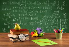 Math class from student school desk - stock photo