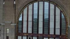 Aerial of Abandoned Train Depot In Buffalo NY Stock Footage