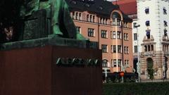 Monument Aleksis Kivi in Helsinki. Stock Footage