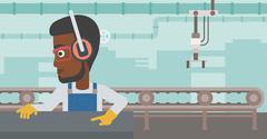 Man working on metal press machine - stock illustration