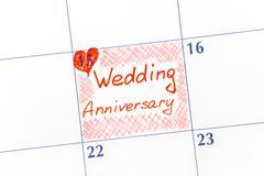 Reminder Wedding Anniversary in calendar. Stock Photos
