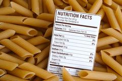 Brown Rice Pasta Nutrition facts Stock Photos