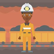 Confident miner in hardhat vector illustration Stock Illustration