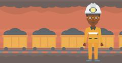 Confident miner in hardhat vector illustration Stock Illustration