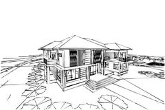 architecture abstract, 3d illustration asian modern house - stock illustration