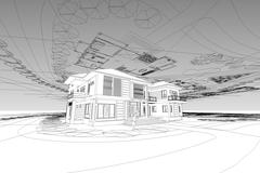 Architecture abstract, 3d illustration asian modern house Piirros