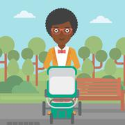 Mother walking with baby stroller Stock Illustration