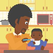 Father feeding baby vector illustration - stock illustration