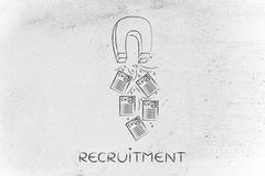 Person attracting resumes with magnet, recruitment concept Stock Illustration