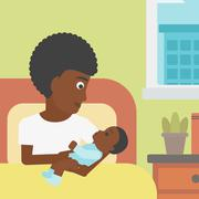 Woman with new born in maternity ward Stock Illustration