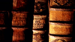 Antique books in a bookshelf Stock Footage