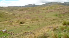 Landscape in Peru with agriculture and farms in Andes Stock Footage