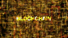Blockchain System Gold Stock Footage