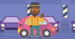 Man holding keys to his new car Stock Illustration
