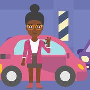 Woman holding keys to her new car - stock illustration