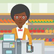 Customer paying wireless with smartphone Stock Illustration