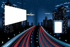 Billboards in Night City Stock Illustration