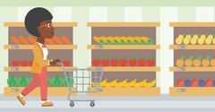 Customer with shopping cart vector illustration Stock Illustration