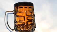 Mug of light beer Stock Footage