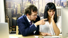 Business man disturbing and harassing partner in office Stock Footage