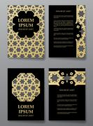 Cover brochure gold design. Arabic traditional decorative elements. Stock Illustration