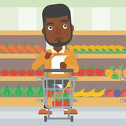 Man with shopping list vector illustration - stock illustration