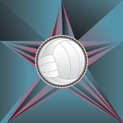 Volleyball Ball on Rays Background Piirros