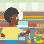 Cashier standing at the checkout in supermarket Stock Illustration