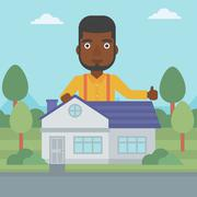 Real estate agent giving thumb up - stock illustration
