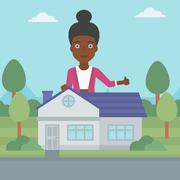 Real estate agent giving thumb up Stock Illustration