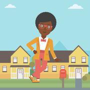 Real estate agent offering house Stock Illustration