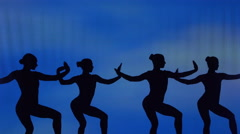 Silhouette of sexy dancers who perform acrobatic stunts Stock Footage