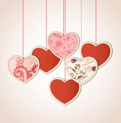 Decorative background with hearts Stock Illustration