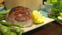 Pork Roast Move Right Close Up on Table Stock Footage