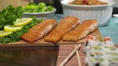 Salmon Close Up Turning on Table Stock Footage