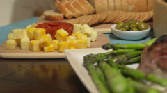 Food Spread Move Right Salmon Cheese Pork and Sushi Stock Footage
