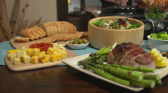 Table of Food For Party Move Right Stock Footage
