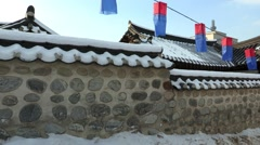Korean traditional house Han ok village in Seoul, Korea Stock Footage