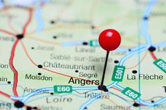 Angers pinned on a map of France Stock Photos