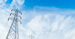 4k pylon,Electricity tower time lapse station with cloudy Stock Footage