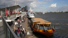 Ferries at Hamburg St. Pauli Landungsbruecken Stock Footage