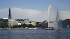 Hamburg City Center Binnenalster lake with fountain Stock Footage